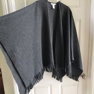 Coldwater Creek grey shawl cape throw fringed wrap
